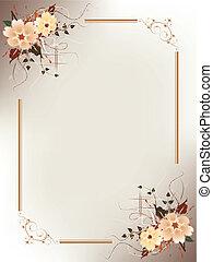 floral, frame, artistiek