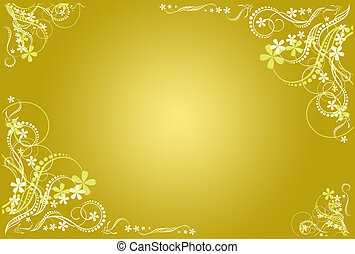 floral, frame, artistiek, ocher