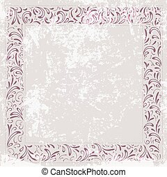 Floral Frame at Vintage Grunge Background
