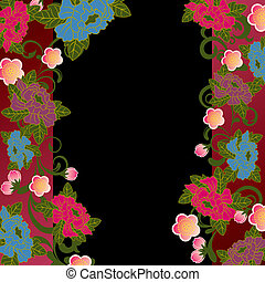 floral, frame, aziaat