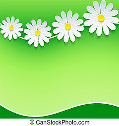 Floral frame, background with 3d chamomile