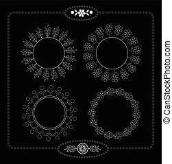floral, frame, black , bladeren