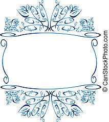 Floral Frame - Blue