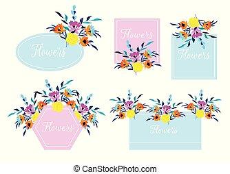 floral, frame., carte, beau, invitation, feuilles, mariage
