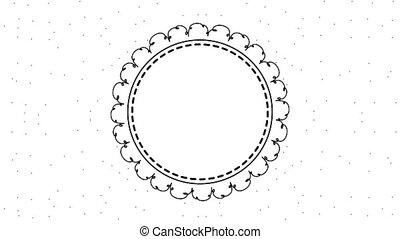 floral, frame, cirkel, etiket, versiering