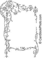 floral, frame, classieke