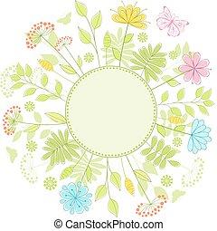 floral, frame.