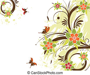 Floral frame with butterfly, vector illustration