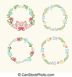 Floral Frame Collection retro flowe