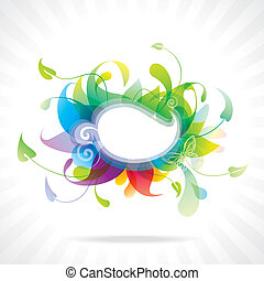 floral, frame., coloré