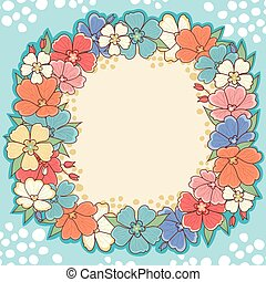 Floral frame. Cute background.