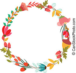 Floral Frame. Cute retro flowers