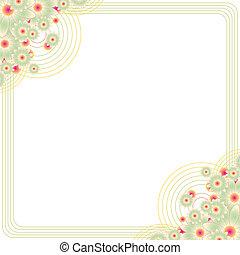 floral, frame, de ruimte van het exemplaar