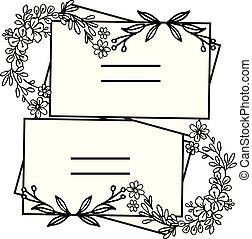 Floral frame design with white background, space for your text. Vector