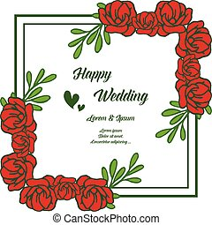 Floral frame for happy wedding invitation, border red flowers, cute frame. Vector