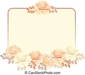 floral frame for invitation template. pearl color yellow...