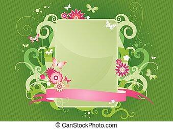 floral, frame, groene