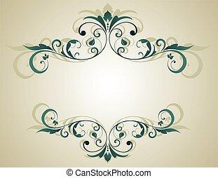 floral, frame, grunge