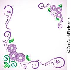 floral, frame, huwelijk uitnodiging