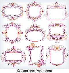 Floral Frame - illustration of set of colorful floral frame