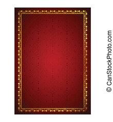 Floral frame in red background