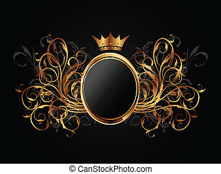 floral, frame, kroon, heraldisch