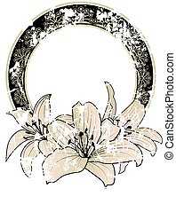 floral, frame, lelies
