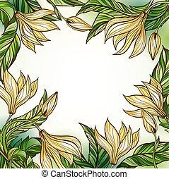 floral, frame, mal
