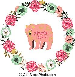 floral frame mama bear - vector floral vintage flowers frame...