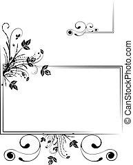 Floral frame - Monochrome floral scrap-booking frame, vector...