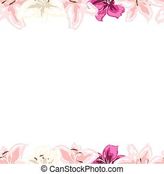Floral frame of gently pink lilies flowers isolated on white background. Vector illustration.