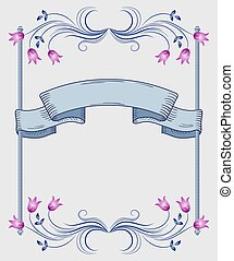 Floral frame of ornament and ribbon - Decorative floral...
