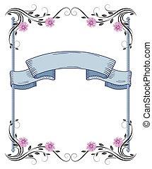 Floral frame of ornament and vintage ribbon - Decorative...