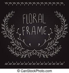 Floral frame on black background