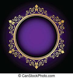 floral frame on purple background