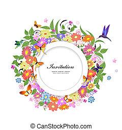 floral, frame, ontwerp, jouw, ronde