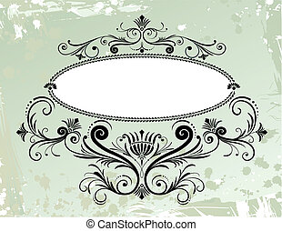 Floral Frame Ornament On Grunge Background, editable vector...