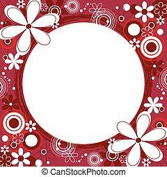 floral, frame, plein, rood