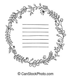 Floral frame. retro flowers arranged in a shape of the wreath for wedding invitations and cards