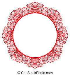 Round floral frame for greeting card with hand-drawn flowers of dahlia. Vector illustration.