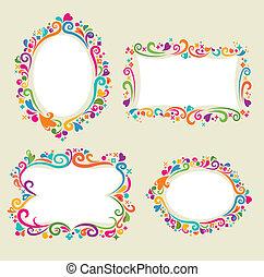 Floral frame set - Collection of four floral frames