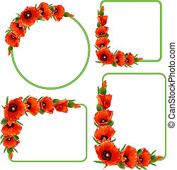 Set of floral frame with red poppies. Vector background