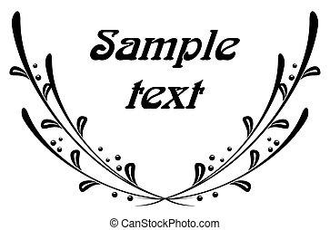 Floral frame - Simple triumph or peace symbol in black