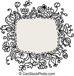 Floral frame sketch for your design