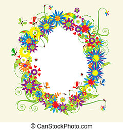 Floral frame, summer illustration