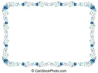 Floral frame template with blue flowers and swirly leaves on white background.