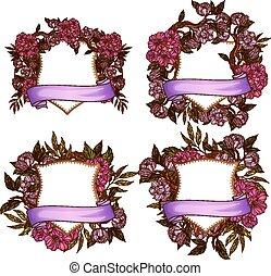 Floral frame templates for wedding invitation set