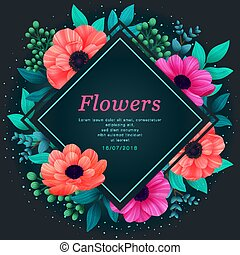 Floral frame. Tropical flowers trendy template. Design with beautiful neon flowers and palm leaves with copy space on dark background. Vector digital illustration