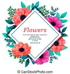 Floral frame. Tropical flowers trendy template. Vertical Design with beautiful flowers and palm leaves with copy space on white background. Vector digital illustration