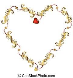 floral, frame, valentine`s, (vector), goud